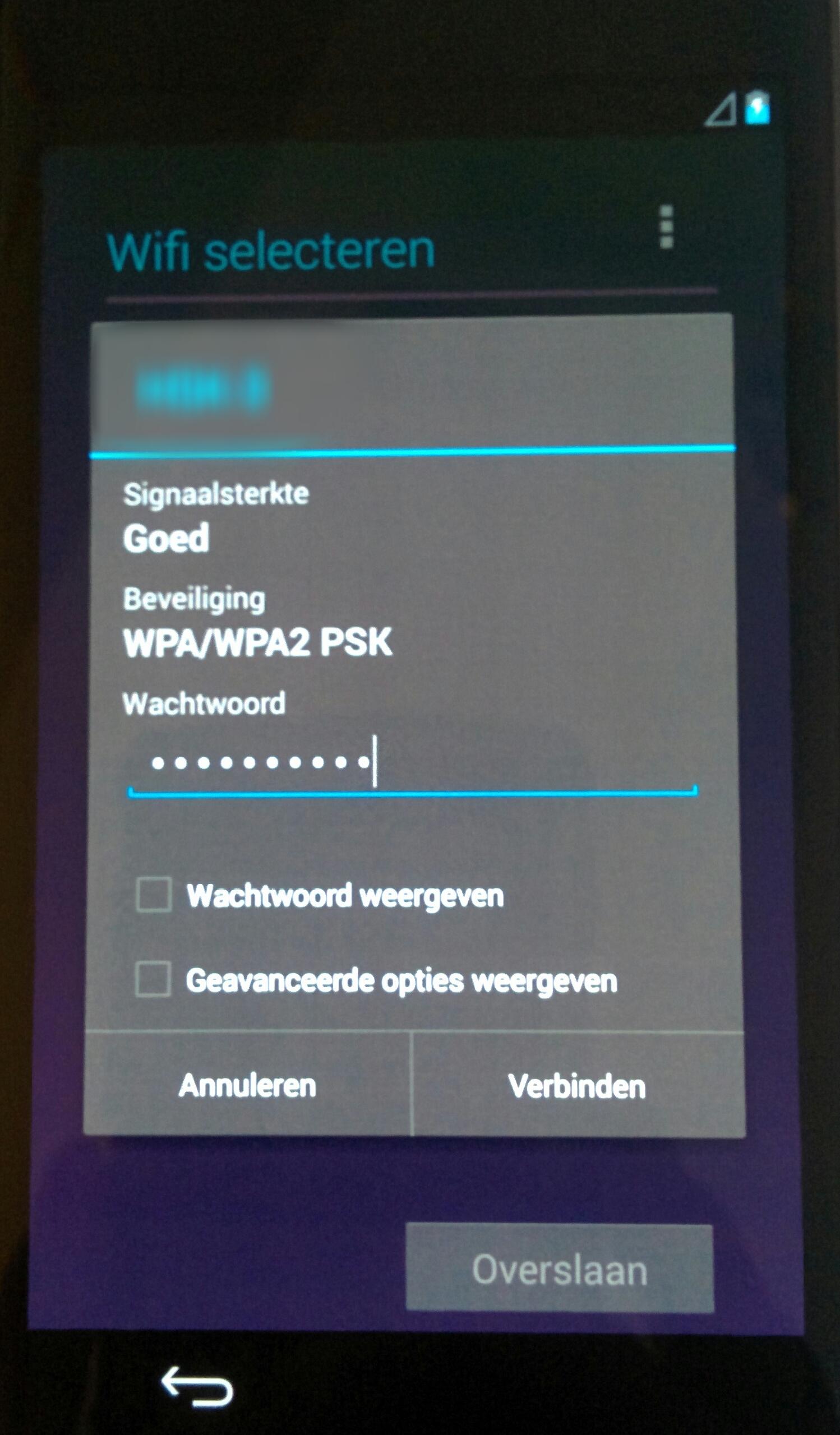 Wifi gegevens invullen